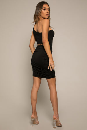 Jiselle Ruche Dress Black
