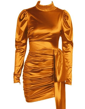 Judo Satin Dress Tan