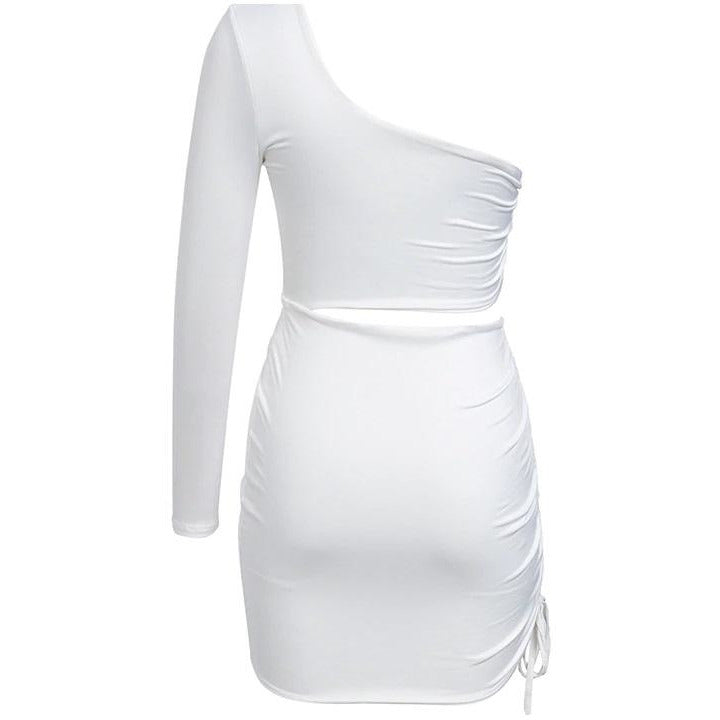 Juni Ruched Mini Dress White