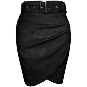 Kalan Ruched Suede Mini Skirt Black