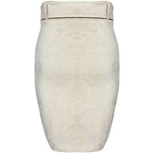 Kalan Ruched Suede Mini Skirt Cream