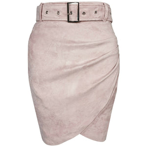 Kalan Ruched Suede Mini Skirt Pink