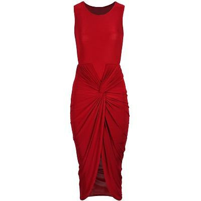 Kayla Ruche Bodycon Dress Red