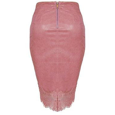 Kaila Leatherette Skirt Dusty Pink