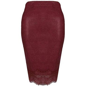 Kaila Leatherette Skirt Wine