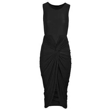 Kayla Ruche Bodycon Dress Black