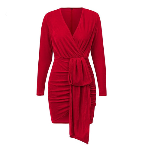 Keena Velvet Mini Dress Red