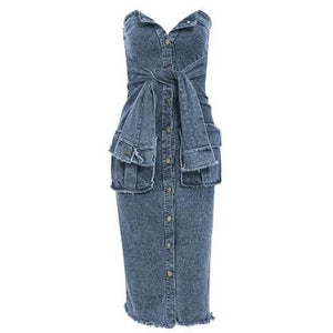 Kelis Denim Bandeau Dress