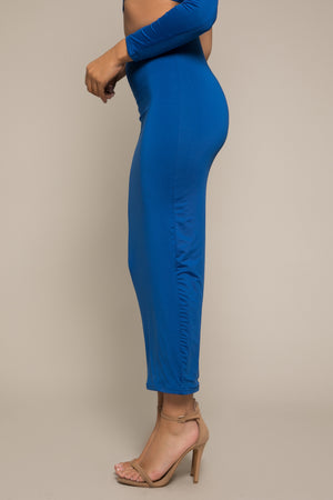 Kiara Longline Bodycon Midi Skirt Blue