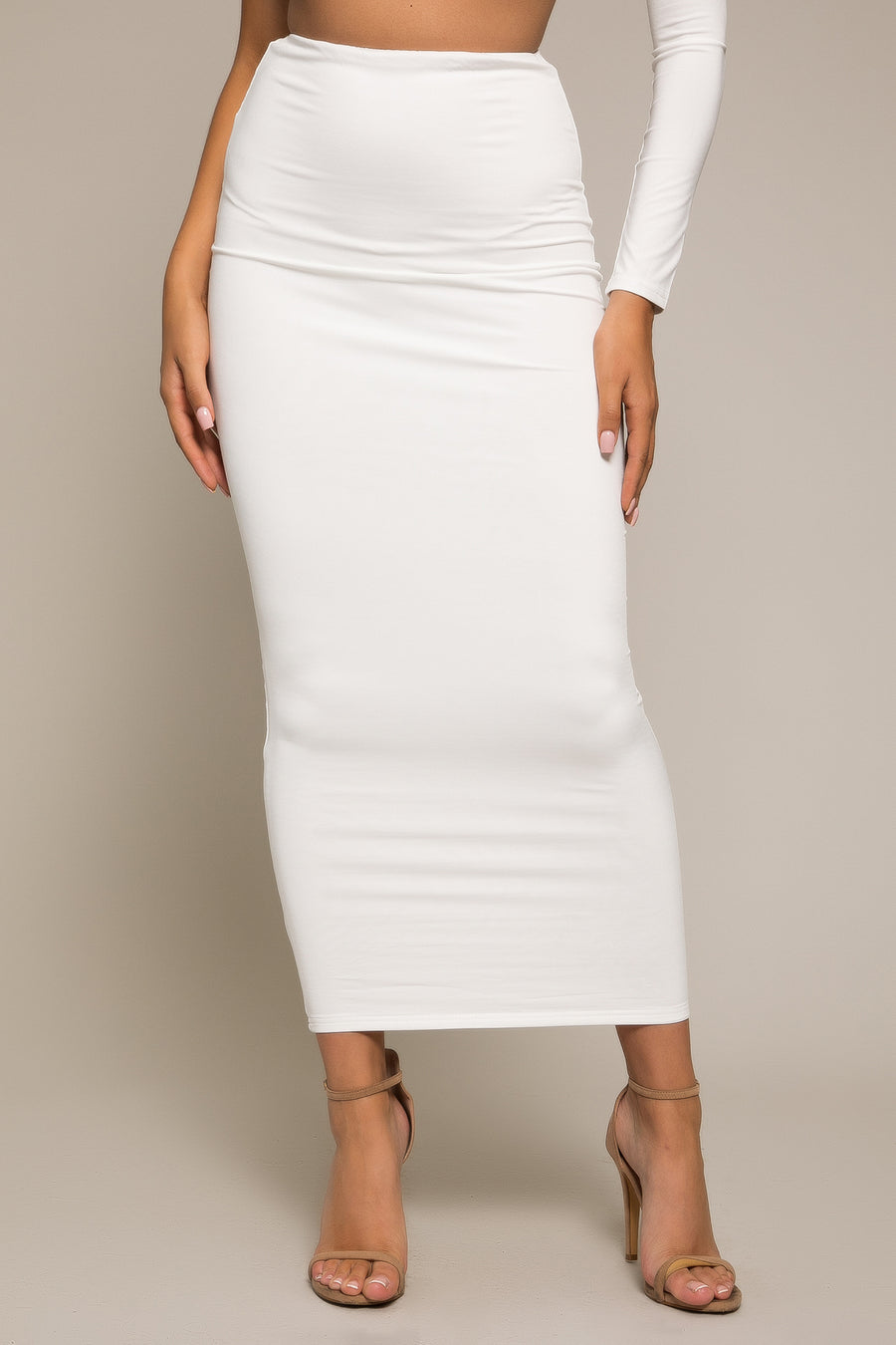 Kiara Longline Bodycon Midi Skirt White