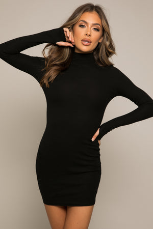 Laurel Ribbed Tube Mini Dress Black