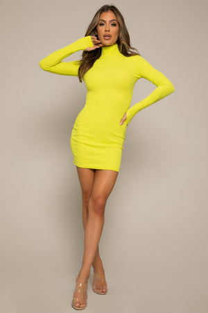 Laurel Ribbed Tube Mini Dress Lime