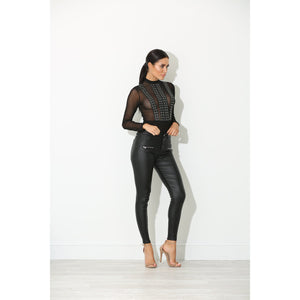 Mara Black Leather and Lace Bodysuit