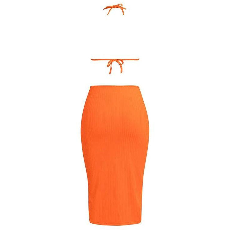Marla Ribbed Dress Tangerine