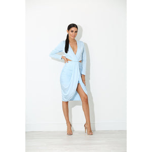 Milo Blue Drape Bodycon Dress