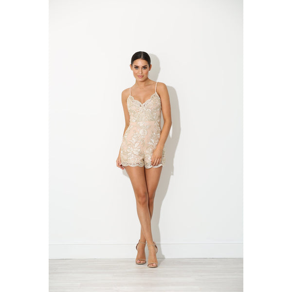 Melia Embroidered Peach Playsuit