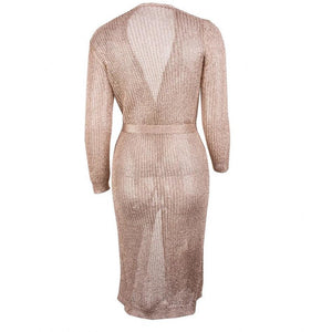Melli Metallic Knit Cardigan Midi Dress Rose Gold