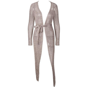 Melli Metallic Knit Cardigan Midi Dress Silver