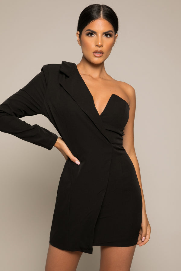 Milene Asymmetric Blazer Dress Black