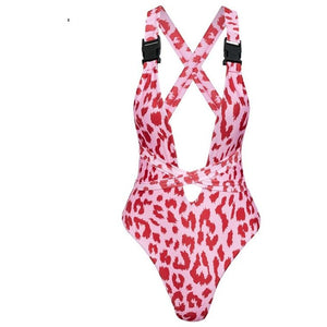 Mireen Leopard Print One Piece Swimsuit Neon Pink