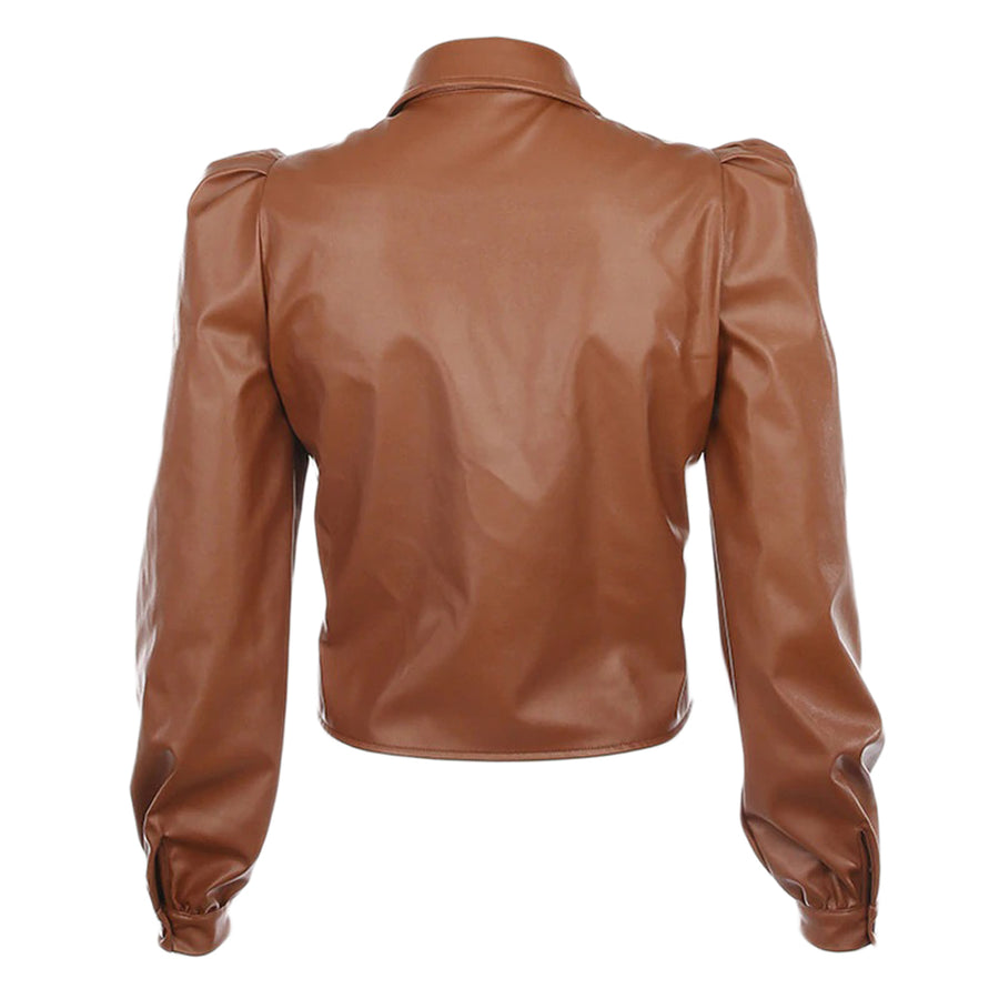 Reuben Leatherette Shirt Tan