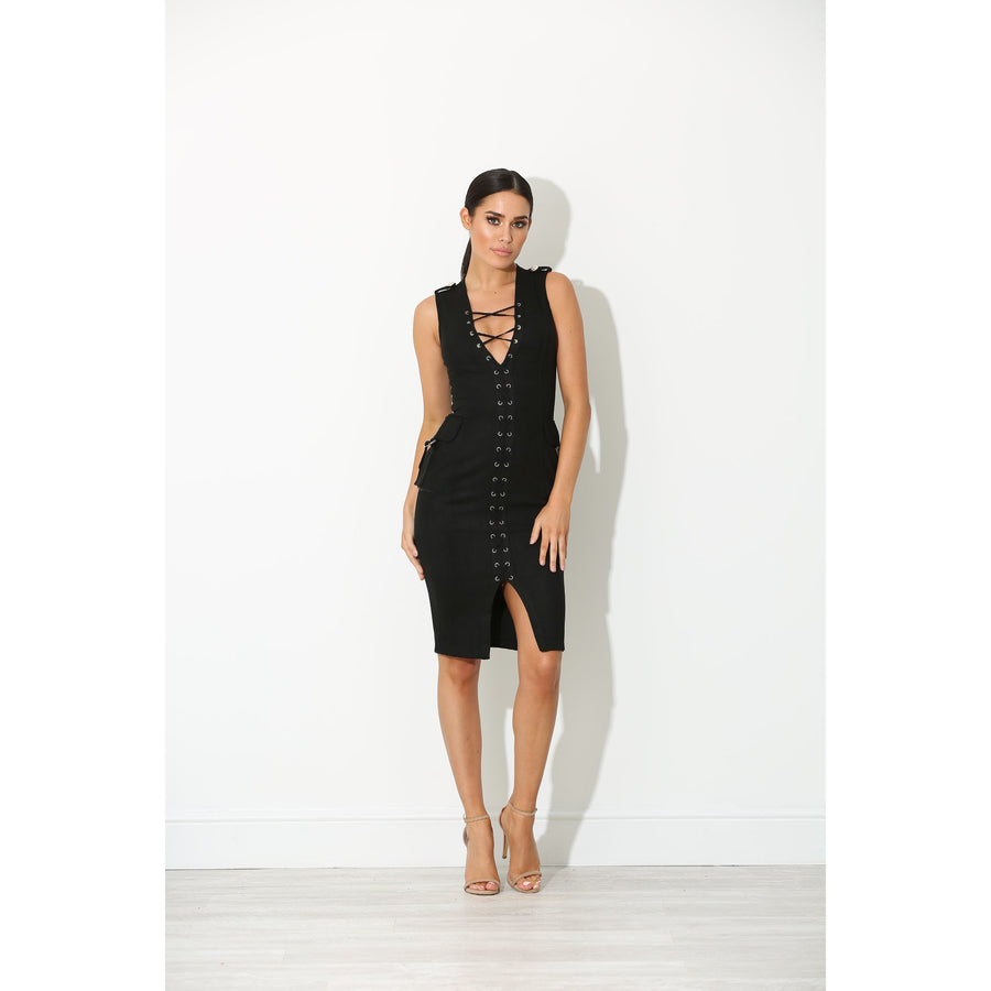 Nelli Black Suede Dress