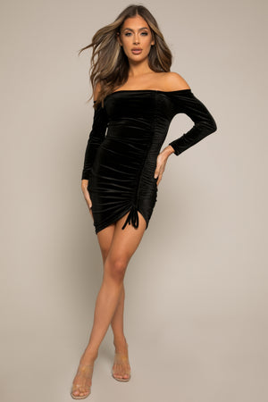 Orielle Velvet Mini Dress Black