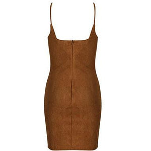 Paris Suede Mini Dress Camel
