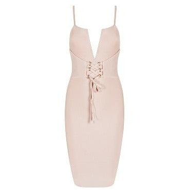 Realia Nude Bandage Dress with Lace Up Front