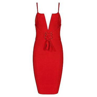Realia Red Bandage Dress with Lace Up Front
