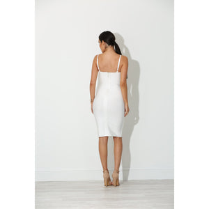 Realia White Bandage Dress with Lace Up Front