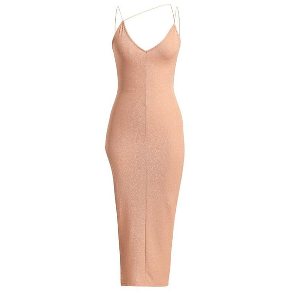 Reginae Glitter Midi Dress Peach
