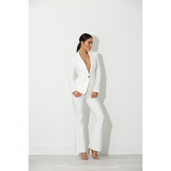Rena White Button Blazer