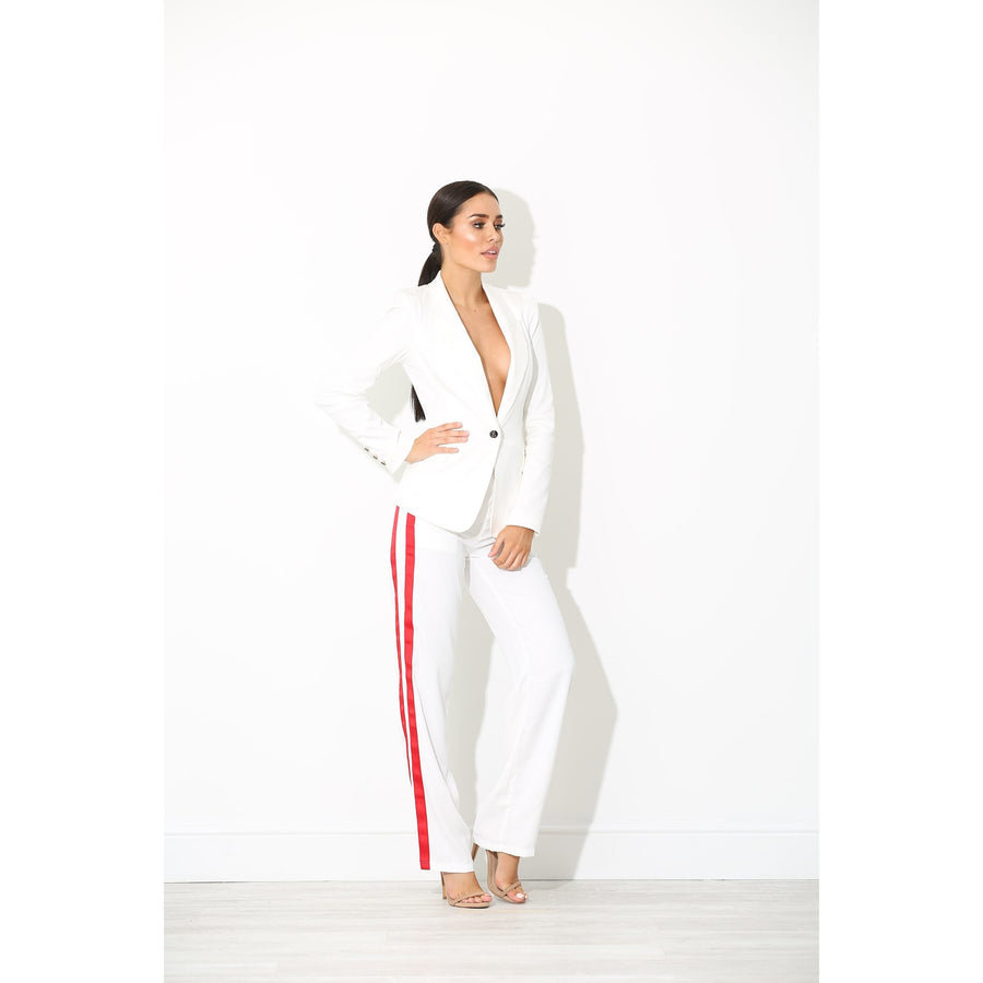 Rina White Sports Luxe Trousers