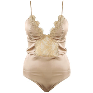 Romaya Lace and Satin Bodysuit Champagne