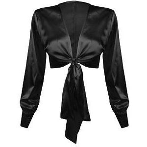 Selice Black Satin Blouse