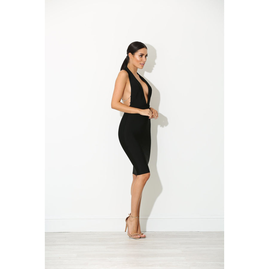 Seriah Backless Bandage Dress Black