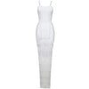 Taliah White Tassel Bandage Dress