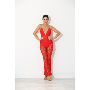 Tami Red Lace Jumpsuit