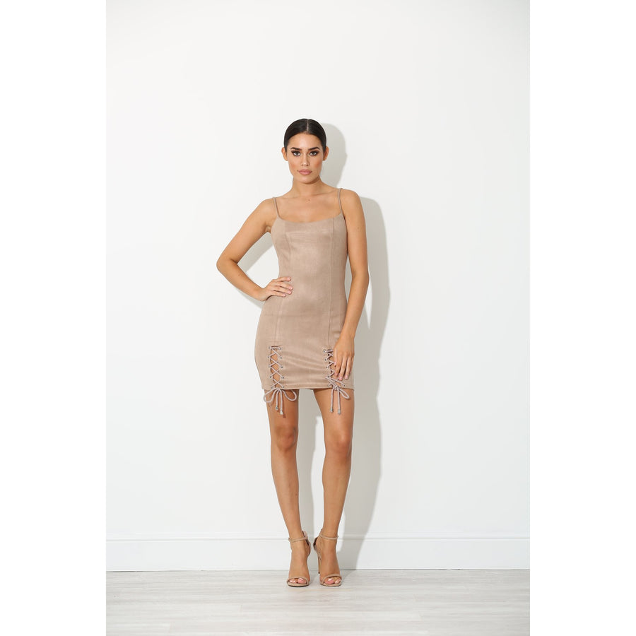 Tamia Nude Suede Mini Dress