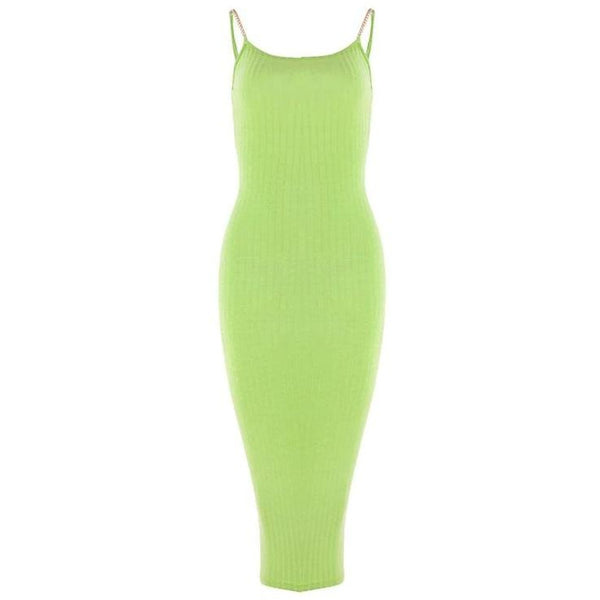 Taya Ribbed Dress Neon