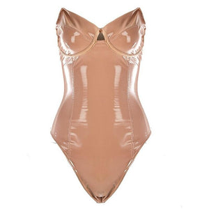 Thessalonia Wet Look Bodysuit Nude