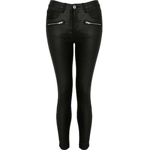 Tia Black Wet Look Jeans