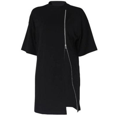 Titan Zipped Oversized T shirt Dress Black
