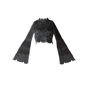 Vienna Lace Crop Blouse Black