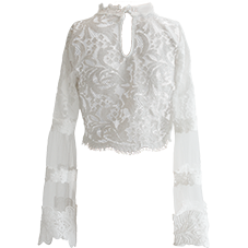 Vienna Lace Crop Blouse White
