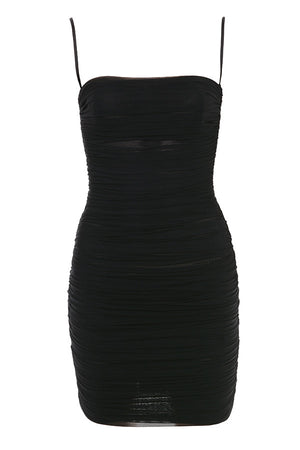 Atila Mesh Ruched Dress Black