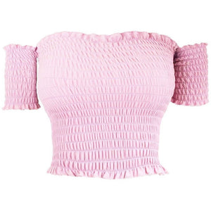 Cory Elastic Crop Top Pink