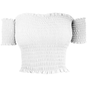 Cory Elastic Crop Top White