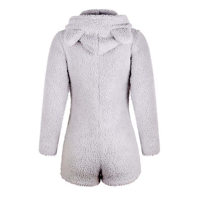 Izzy Fluffy Teddy Lounge Playsuit Grey